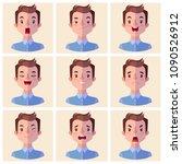 avatars emotions. set a man...   Shutterstock .eps vector #1090526912