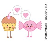 kawaii cupcake and candy... | Shutterstock .eps vector #1090549415