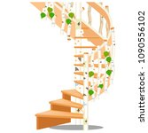 spiral wooden staircase made of ... | Shutterstock .eps vector #1090556102