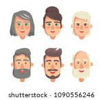 grandparents faces collection ... | Shutterstock .eps vector #1090556246