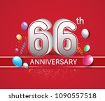66th anniversary design red... | Shutterstock .eps vector #1090557518