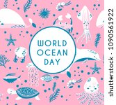 world ocean day greeting card.... | Shutterstock .eps vector #1090561922