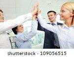 cheerful business team holding... | Shutterstock . vector #109056515
