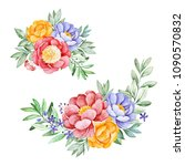 2 lovely bouquets with peony... | Shutterstock . vector #1090570832
