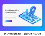 isometric flat 3d city map in... | Shutterstock .eps vector #1090571705