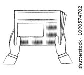 hands reader with newspaper... | Shutterstock .eps vector #1090574702