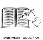 study notebook open with hand y ...   Shutterstock .eps vector #1090574726