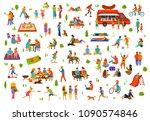 people in the park set. man...   Shutterstock .eps vector #1090574846