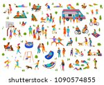 people in city park set. lazy... | Shutterstock .eps vector #1090574855