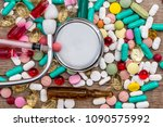 medicaments with stethoscope ...   Shutterstock . vector #1090575992