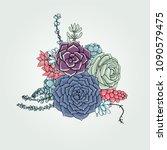 vector succulents floral... | Shutterstock .eps vector #1090579475
