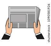 hands reader with newspaper... | Shutterstock .eps vector #1090581926