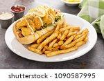 shrimp po boy sandwich with... | Shutterstock . vector #1090587995