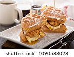 waffle  fried egg and fish... | Shutterstock . vector #1090588028