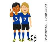 full length portrait of two... | Shutterstock .eps vector #1090588145