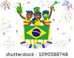 russia 2018 world cup  brazil... | Shutterstock . vector #1090588748