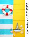 summer accessories with... | Shutterstock . vector #1090597178