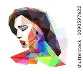 girl stylized colorful  vector... | Shutterstock .eps vector #1090597622