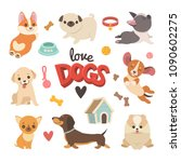Stock vector puppies collection vector illustration of cute cartoon different breeds dogs such as corgi 1090602275