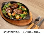 delicious steak meat with... | Shutterstock . vector #1090605062