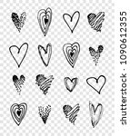 hand drawn black hearts on... | Shutterstock .eps vector #1090612355