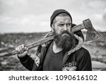 hipster with beard and mustache ...   Shutterstock . vector #1090616102