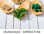 herbal leaves  ground herb...   Shutterstock . vector #1090617146