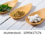 herbal leaves  ground herb...   Shutterstock . vector #1090617176