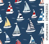 marine seamless pattern with... | Shutterstock .eps vector #1090622012