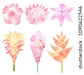 tropical collection with exotic ... | Shutterstock . vector #1090622546