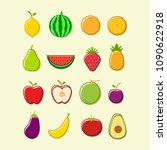 flat fruit icon set vector...   Shutterstock .eps vector #1090622918