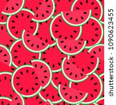 watermelon seamless pattern.... | Shutterstock .eps vector #1090623455