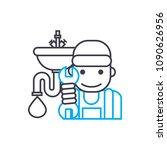 sanitary technician vector thin ...   Shutterstock .eps vector #1090626956