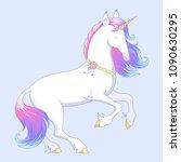 elegant white unicorn stands on ... | Shutterstock .eps vector #1090630295