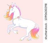 elegant white unicorn stands on ... | Shutterstock .eps vector #1090630298