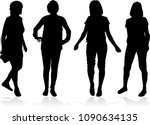silhouette of a woman. | Shutterstock .eps vector #1090634135