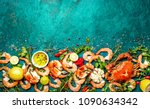 fresh raw seafood   shrimps and ... | Shutterstock . vector #1090634342