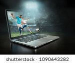 caucassian soccer players in...   Shutterstock . vector #1090643282