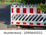 Small photo of Roadblock / Special fences block off traffic during road repairs