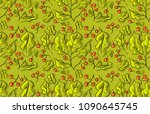 seamless pattern with green... | Shutterstock .eps vector #1090645745