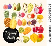 set of tropical fruits | Shutterstock .eps vector #1090645805