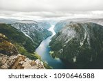 norway landscape fjord and... | Shutterstock . vector #1090646588
