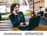 attractive business woman... | Shutterstock . vector #1090654226