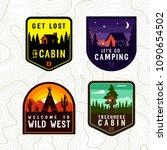 Vector Vintage Cabin  Camping...