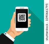 hand holds phone with qr code...   Shutterstock .eps vector #1090661795