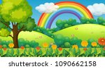 beautiful green mountain and... | Shutterstock .eps vector #1090662158