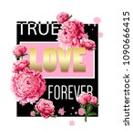 print for t shirt with peonies... | Shutterstock .eps vector #1090666415