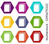 biscuit ice cream icons 9 set... | Shutterstock .eps vector #1090670102