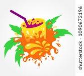 juice drink beverage splash... | Shutterstock .eps vector #1090672196