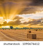 sunset on hay bales drying in Italian country fields